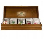 Шкатулка для чая Ahmad брендированная, деревянная с делениями, без чая